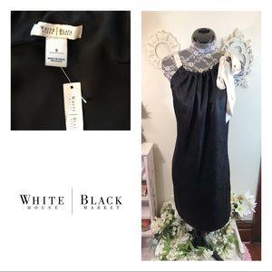 New WHBM Silk Shift  Ribbon Tie Shoulder Dress